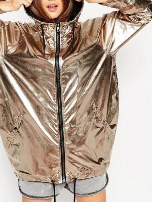 Gold Solid Hoodie Long Sleeve Casual Coat_5