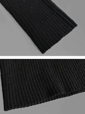 Black Long Sleeve Solid V neck Paneled Sweater_5