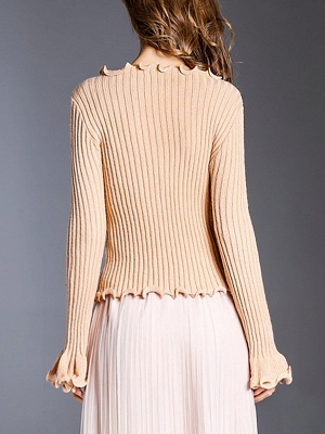 Apricot Wool Bateau/boat neck Solid Casual Sweater_3