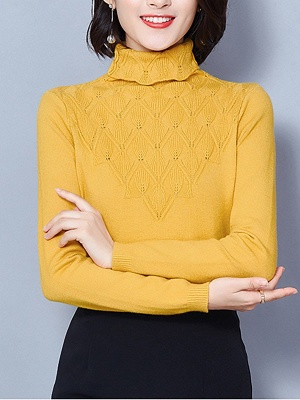 Sheath Turtleneck Long Sleeve Casual Embossed Sweater_5