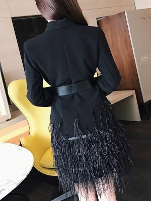 Black Statement Solid Paneled Plunging neck Coats_3