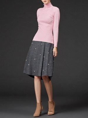Sheath Long Sleeve Casual Solid Turtleneck Sweater_1