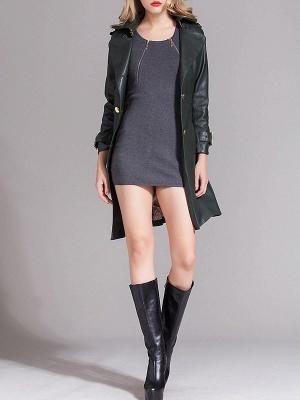 Dark Green Raglan Sleeve Work Lapel Pockets Coat_5