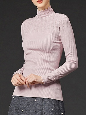Stand Collar Casual Shift Solid Long Sleeve Sweater_5