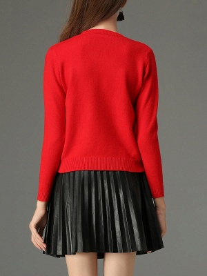 Red Animal Long Sleeve Knitted Embroidered Sweater_3