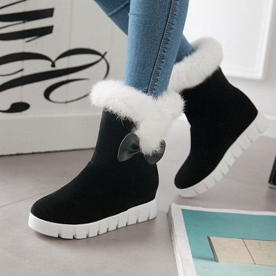 Wedge Heel Suede Fur Round Toe Bowknot Boots_3