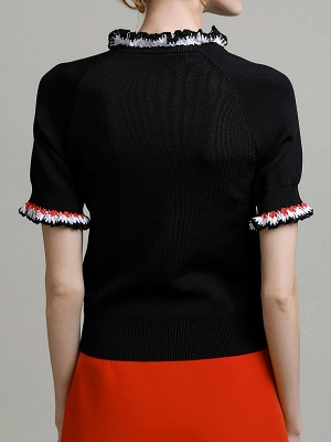 Black Knitted Casual Knitted Crew Neck Ruffled Sweater_3