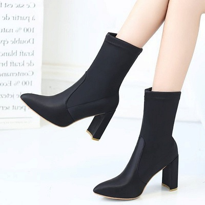 Daily Chunky Heel Zipper Pointed Toe PU Boots_8