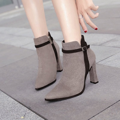 Suede Buckle Chunky Heel Pointed Toe Boot_2