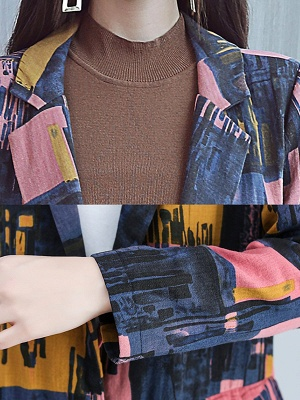 Lapel Pockets Buttoned Color-block Slit Coat_8