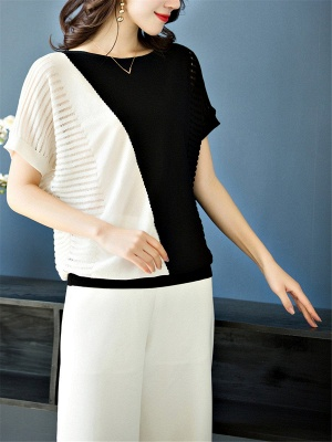 Short Sleeve Casual Knitted Color-block Paneled Sweater_3