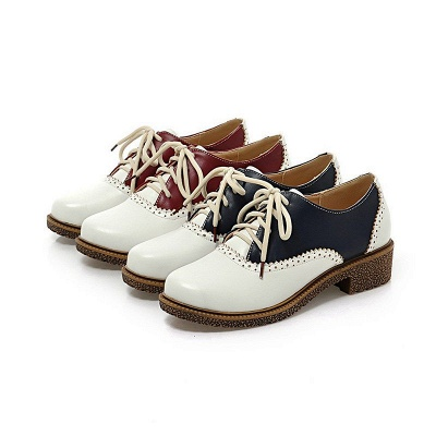 Lace-up Daily Chunky Heel Color Block Oxfords_4