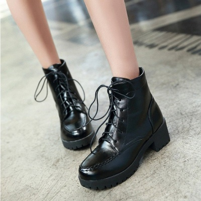 Daily Lace-up Fall PU Round Toe Boot_3