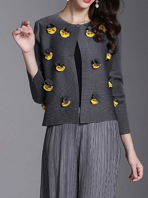 Long Sleeve Floral Casual Coat_4