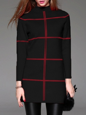 Long Sleeve Checkered/Plaid Knitted Casual Sweater_2