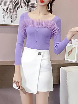 Casual Long Sleeve Paneled Sweater_2