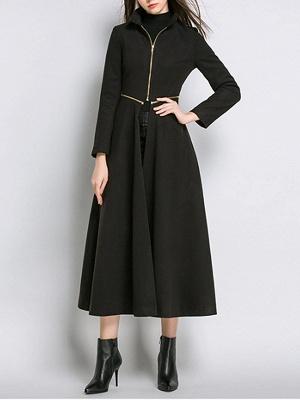 Stand Collar A-line Paneled Long Sleeve Casual Zipper Coat_5