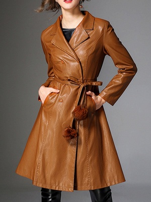 Long Sleeve Leather Work Casual Coat_1