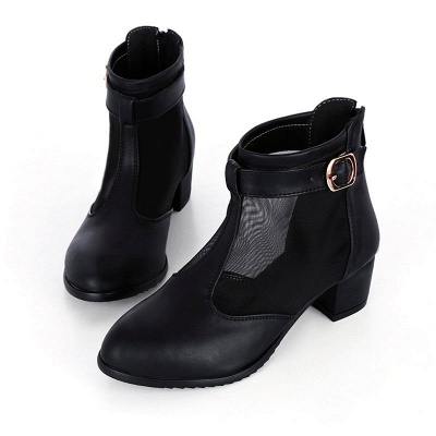 Buckle Pointed Toe Chunky Heel Elegant Boots_7