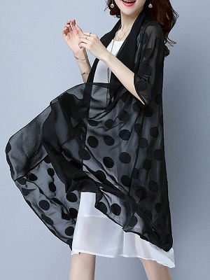 Chiffon Polka Dots Print Sunscreen Coat_2