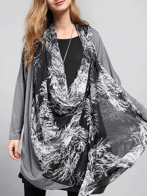 Casual Abstract Long Sleeve Shift Printed Coat_10
