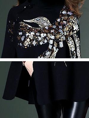 Black Elegant Shift Glitter-finished Animal Sweater_6