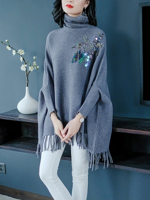 Gray Batwing Casual Fringed Turtleneck Solid Sweater_7