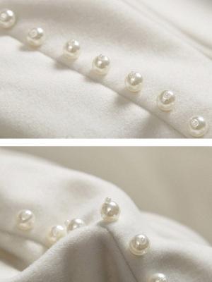 Beige Long Sleeve Solid Beaded Slit Shift Coat_6