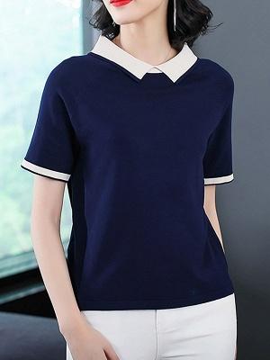 Short Sleeve Work Summer Knitted Binding Sweater_2