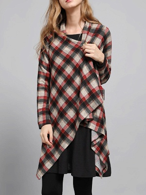 Checkered/Plaid High Low Casual Long Sleeve Coat_9