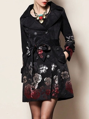 Black Floral Casual Long Sleeve Pockets Buttoned Jacquard Coat_1