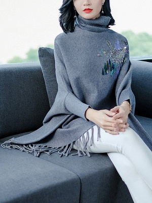 Gray Batwing Casual Fringed Turtleneck Solid Sweater_6