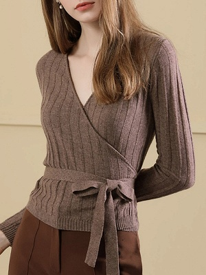 Velvet Plunging neck Casual Knitted Long Sleeve Sweater_2
