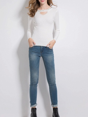 Solid Long Sleeve Casual Beaded Sweater_6