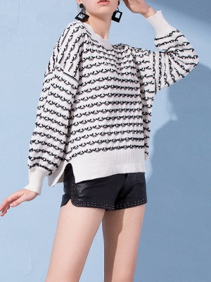Crew Neck Long Sleeve Shift Casual Sweater_8
