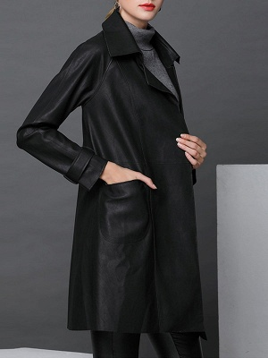Black Leather Solid Casual Long Sleeve Coat_4
