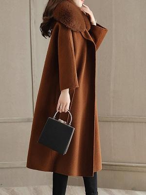 Shift Solid Casual Long Sleeve Shawl Collar Pockets Paneled Coat_6