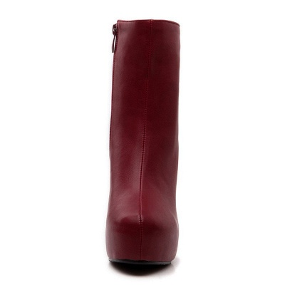 Daily Chunky Heel Zipper Tie Round Toe Elegant Boots_12