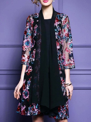 Black Floral Shift 3/4 Sleeve Casual Coat_1