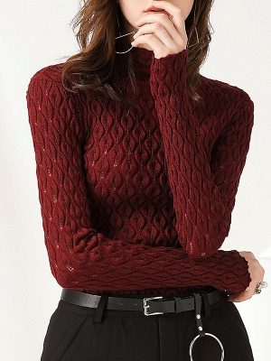 Stand Collar Casual Long Sleeve Wool Cable Sweater_9