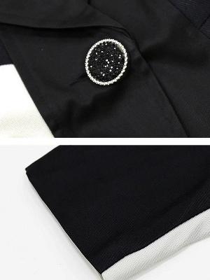 Black Polka Dots Long Sleeve Casual Coat with Brooch_6