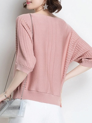 Ice Yarn Knitted Shift Casual Batwing Sweater_5
