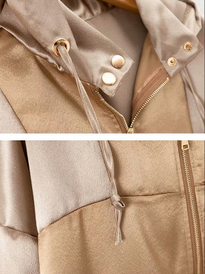 Pink Casual Hoodie Paneled Pockets Zipper Color-block Coat_5