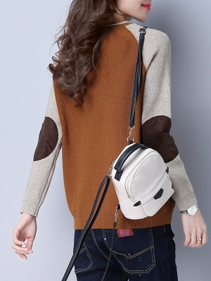 Patch Long Sleeve Casual Crew Neck Sweater_4