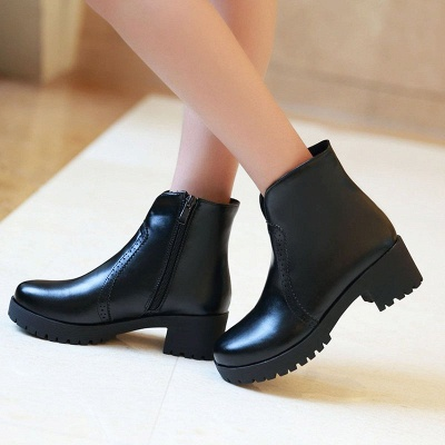 Fall PU Chunky Heel Round Toe Boot_3