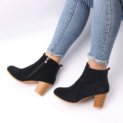 Suede Chunky Heel Zipper Daily Round Toe Boot_10