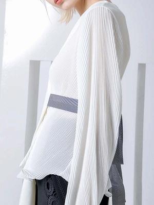 Frill Sleeve Casual Asymmetrical V neck Ruffled Folds Coats_10