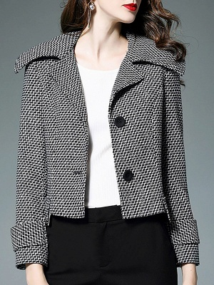 Black-white Buttoned Shift Lapel Elegant Coat_7