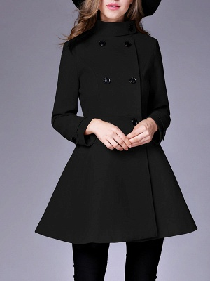 Long Sleeve Casual Wool Stand Collar Coat_4