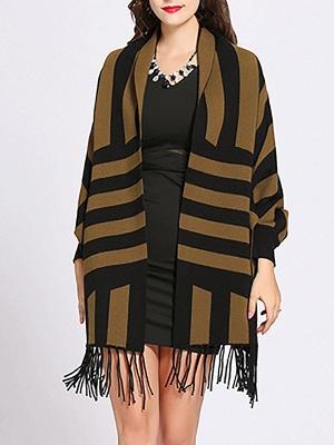 Striped Fringed Shift Long Sleeve Elegant Sweater_3